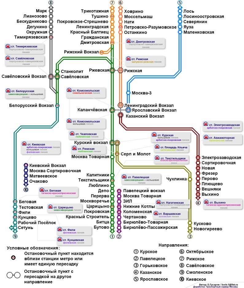 Схема маршрутов пригородных